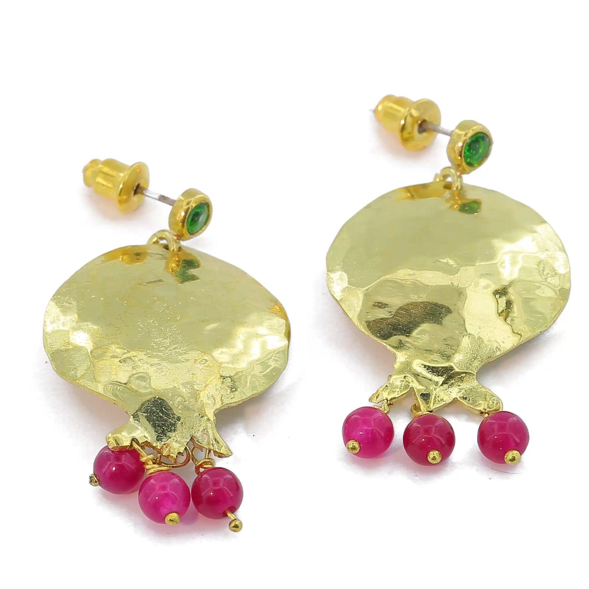 Pomegranate earrings,aesthetic jewelry,beauty and the beast jewelry,israeli jewelry,jewish jewelry,pomegranate jewelry,fruit earrings,