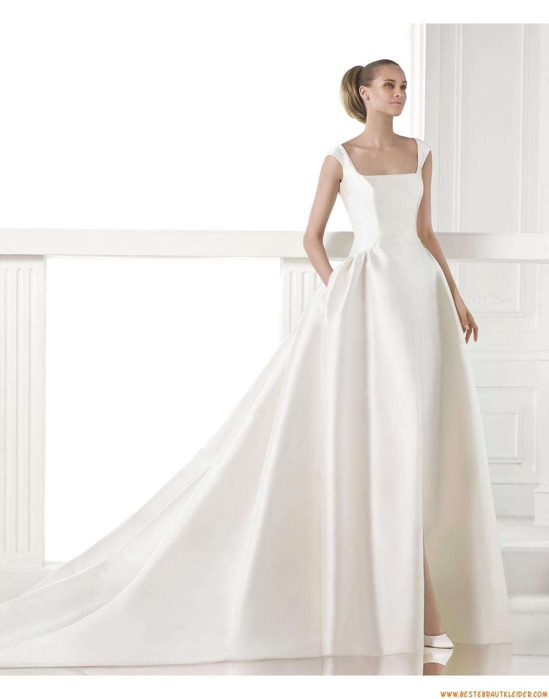 2015 Ausgefallene Moderne Schicke Brautkleider aus Taft mit Schleppe ...