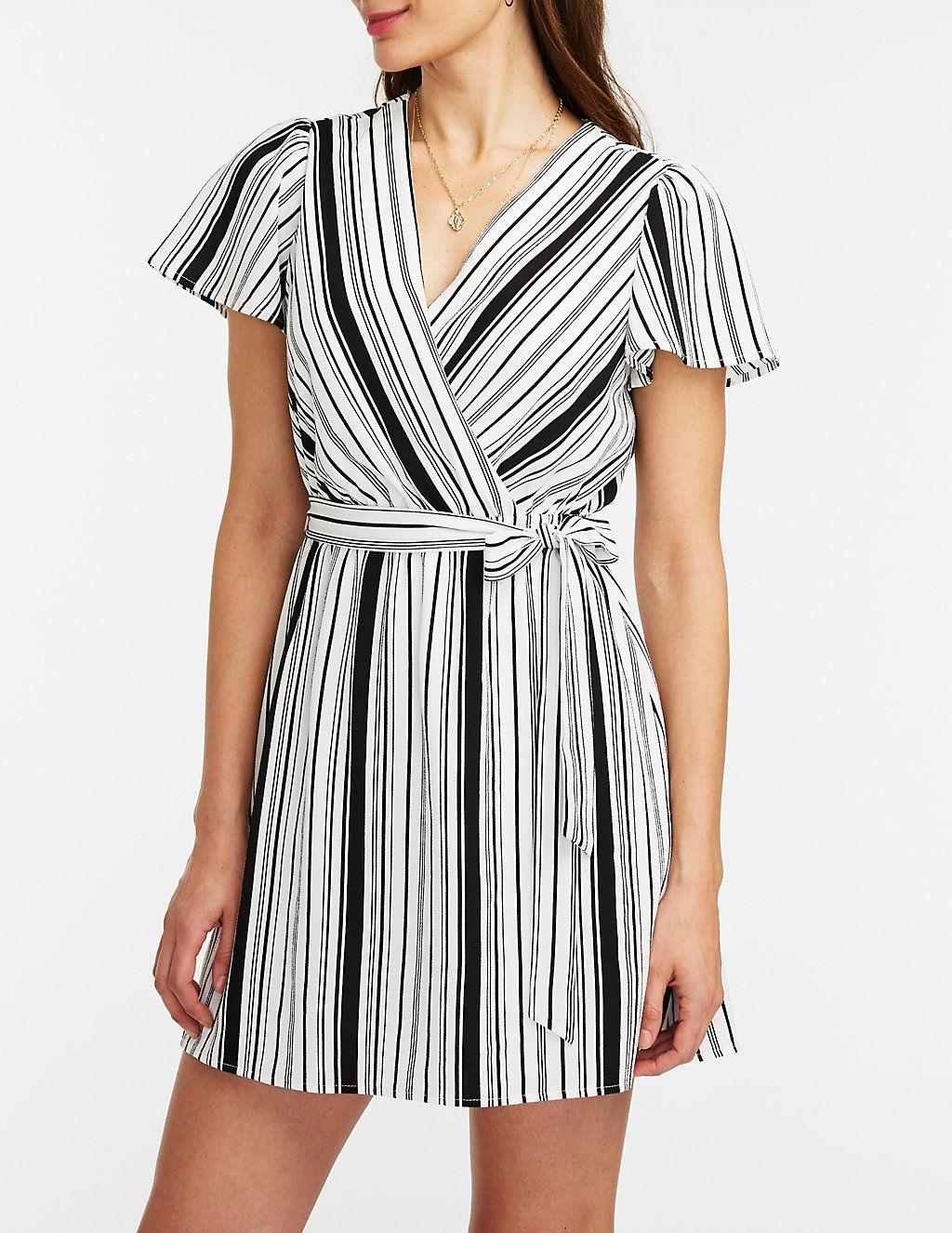 Striped Wrap Dress Charlotte Russe Wrap Dress Dresses Clothes [ 1326 x 1024 Pixel ]