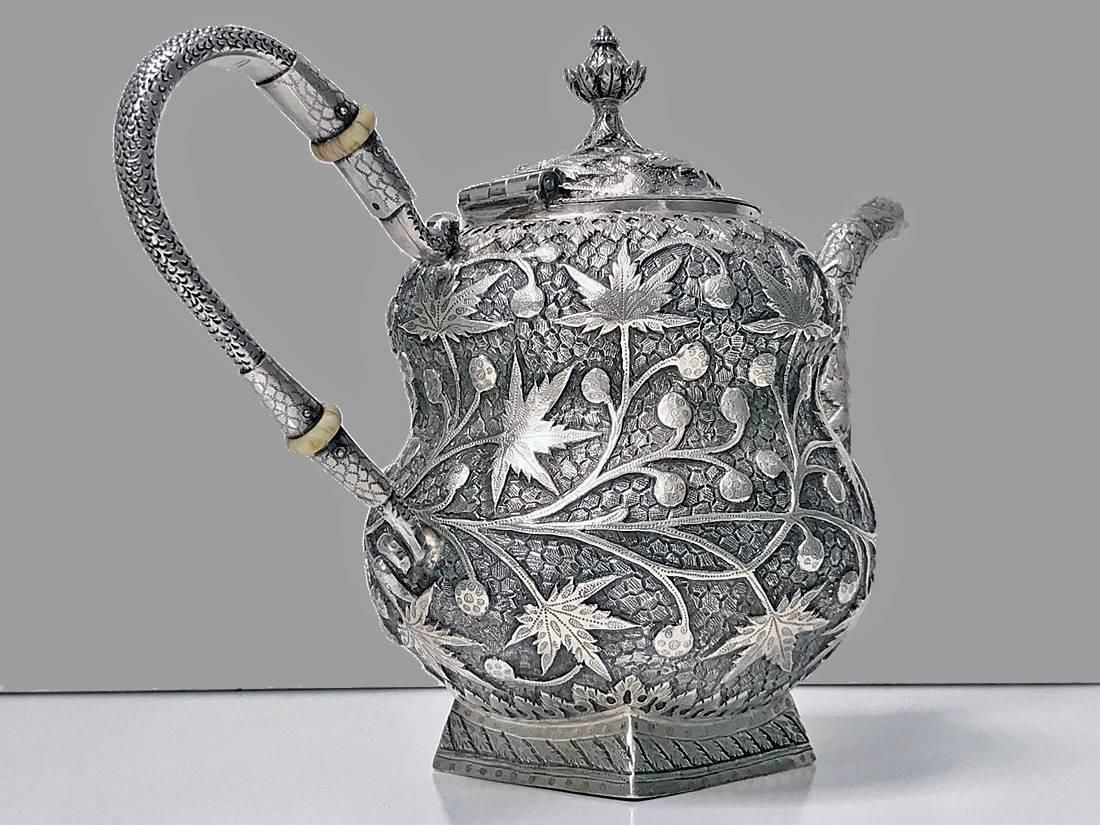 Antique Kashmir India Silver Tea Set Srinagar, circa 1910