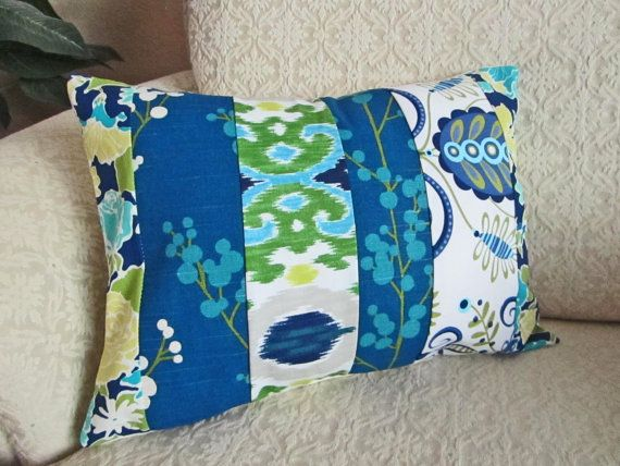 Hipster Pillow, Blue Floral Patchwork Pillow Cover, Bohemian, Cottage Chic, Shabby Chic Pillow Cover, Hipster Pillow, Bright Ikat Cushion