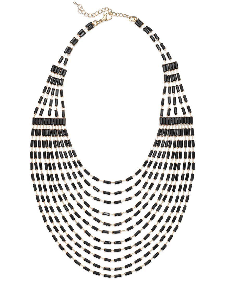 Bar Iii Gold-Tone Black Bead Multi-Row Statement Necklace