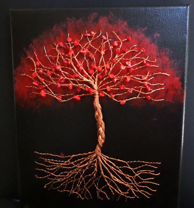 Red Autumn Tree of Life Wire Sculpture on 11x14 Canvas with Red Coral by TwistedFingerDesigns on Etsy https://www.etsy.com/listing/238372242/red-autumn-tree-of-life-wire-sculpture