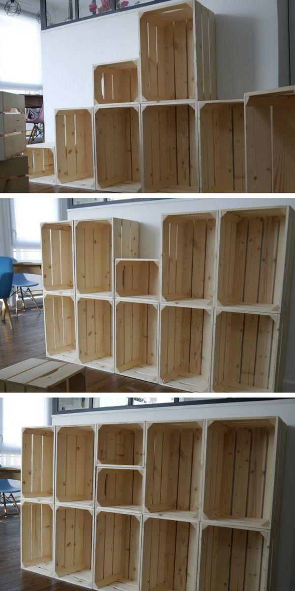 Comment Utiliser Des Caisses En Bois Pour Fabriquer Un Rangement Decoratif Modulable Dans L Entree Caisse Bois Rangement Decoratif Rangement Fait Maison