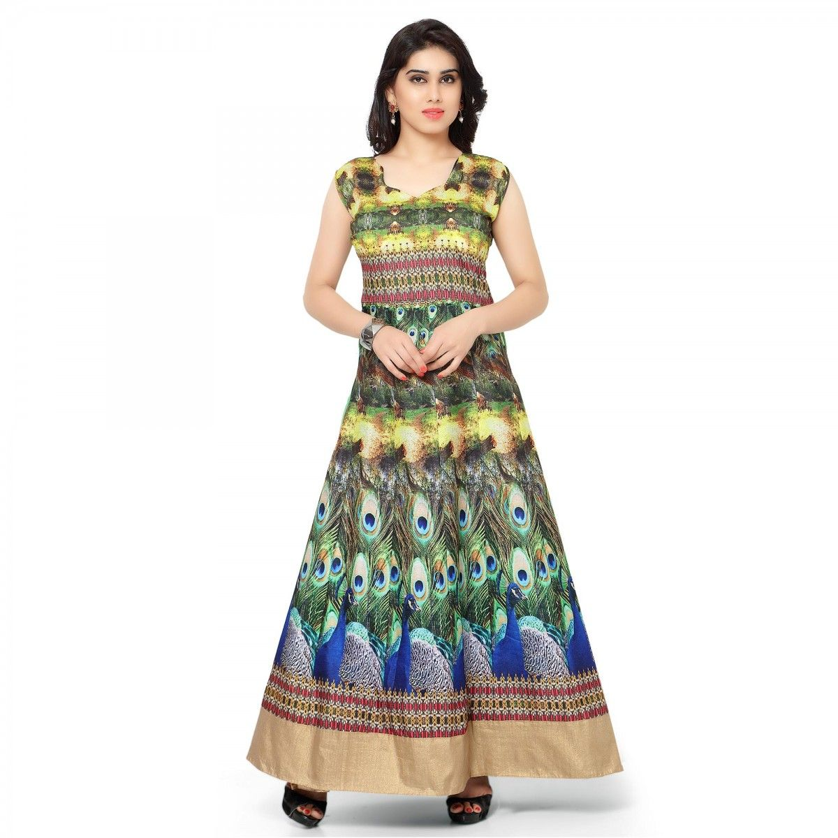 Buy Green Peacock Design Party Wear Gown for womens online India, Best  Prices, Reviews