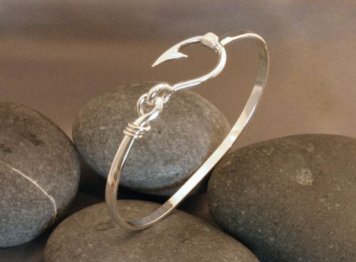 Sterling silver cod fish hook bracelet love this so much for Fish hook jewelry