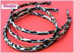 Tiara forrada cetim  Animal Print Leopardo-  Pct com 3