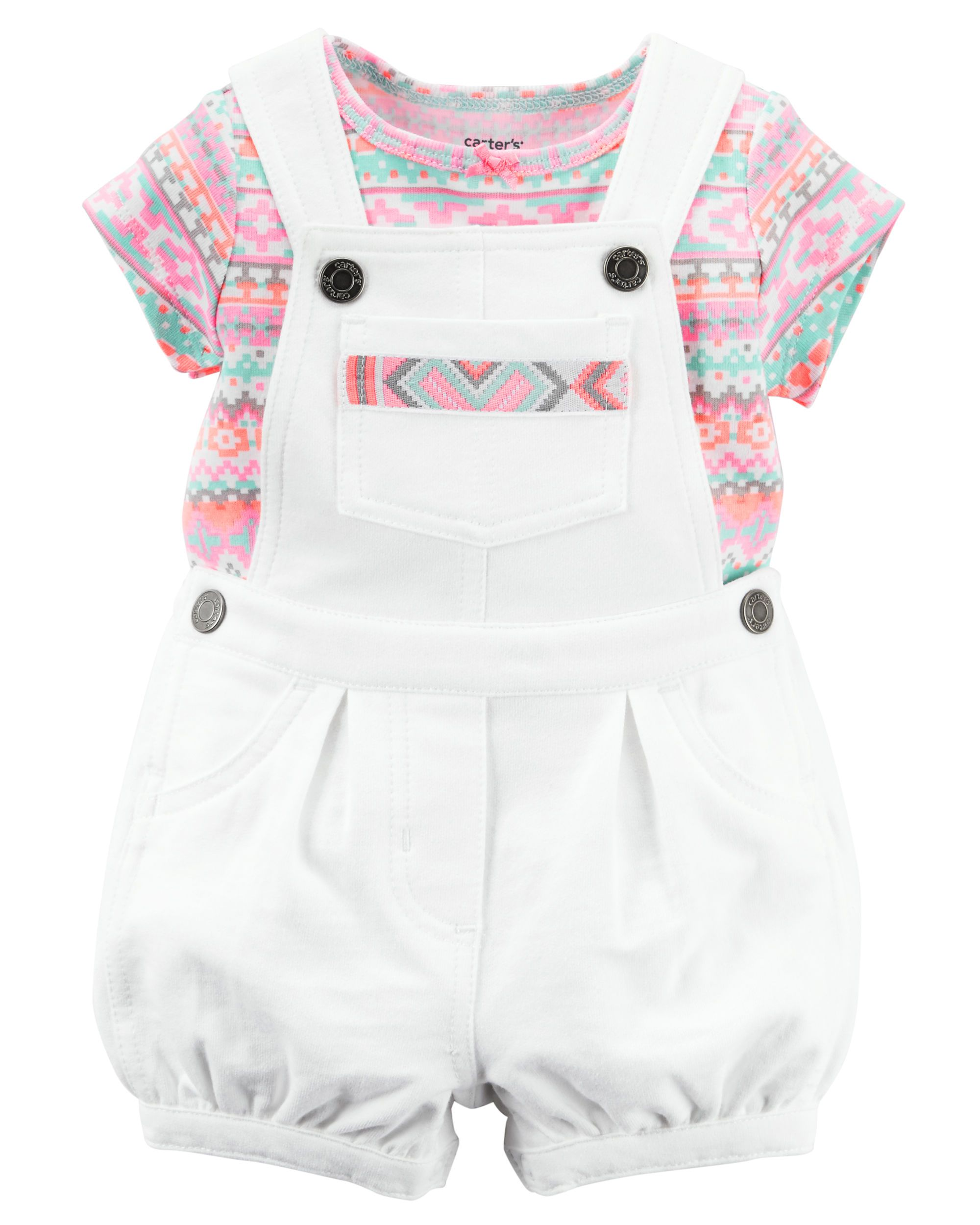8d4d3ed6e51b Baby Girl 2-Piece Tee   Shortalls Set