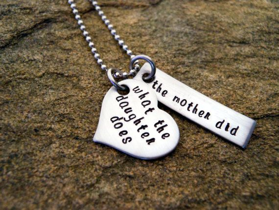 What the daughter does the mother did - Heart and Bar - Personalized Necklace