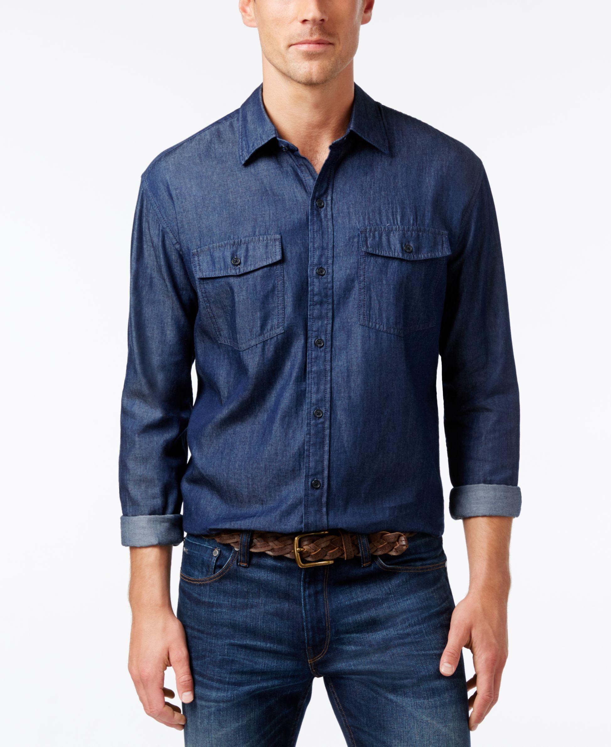 Navy blue flannel shirt womens  Cutter u Buck Menus Big u Tall Indigo Denim Twill Shirt  Products