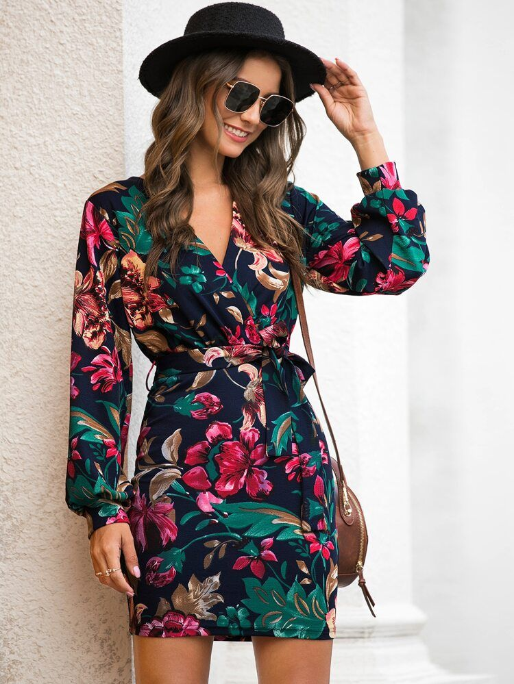 Floral print self tie fitted dress shein usa long