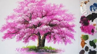 Painting A Cherry Blossom Tree Forest With Acrylics In 10 Minutes