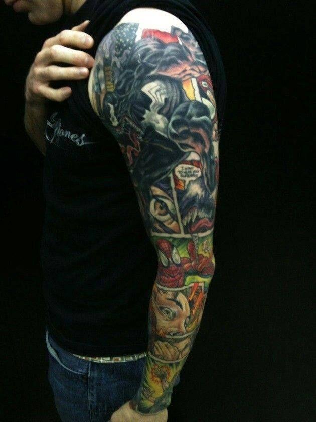 Spider Man Venom Carnage Tattoo: Comic Book Art Tattoo. Spiderman Vs. Venom