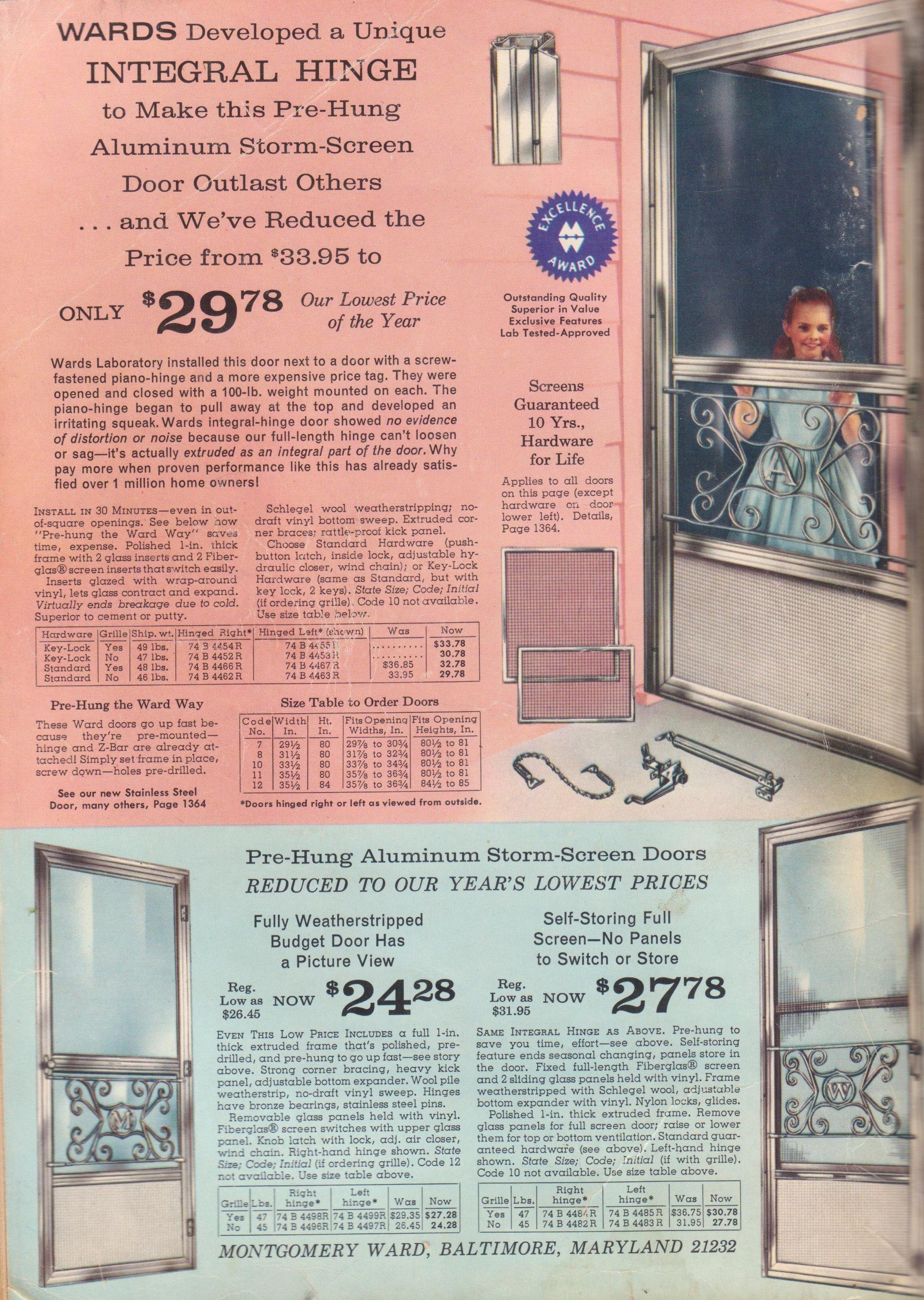 Vintage Aluminum Storm Screen Door W Grille Initial Home