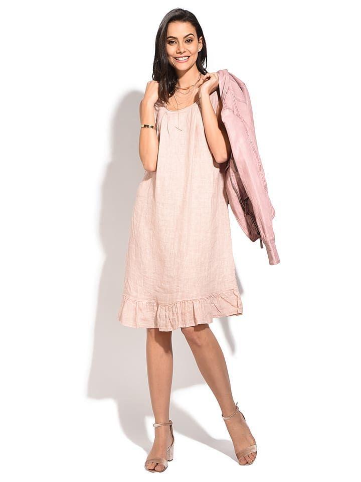 le jardin du lin leinen-kleid in rosa - 70% | größe 34