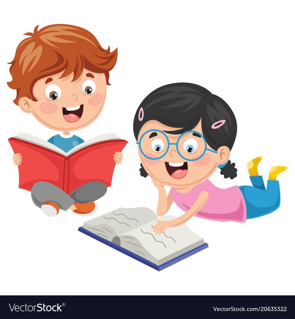 Https Www Vectorstock Com Royalty Free Vector Kids Reading Book Vector 20635322 Kids Reading Books Art Drawings For Kids Kids Cartoon Characters