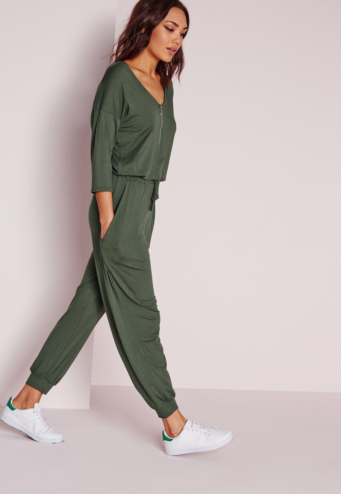 f9d1c94fbcbe Missguided - Jersey Zip Front Jumpsuit Khaki