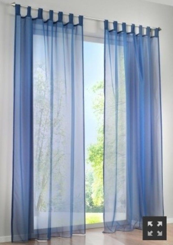 Exceptional 1 Pair Sheer Curtain Voile Window Curtains Navy Blue 2 X 145 X 245 CM