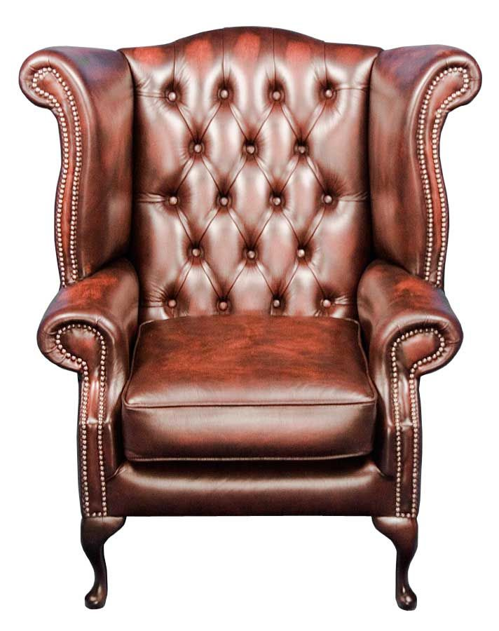 Queen Anne Style Red Leather Wingback Armchair English Clics Of Atlanta Chair