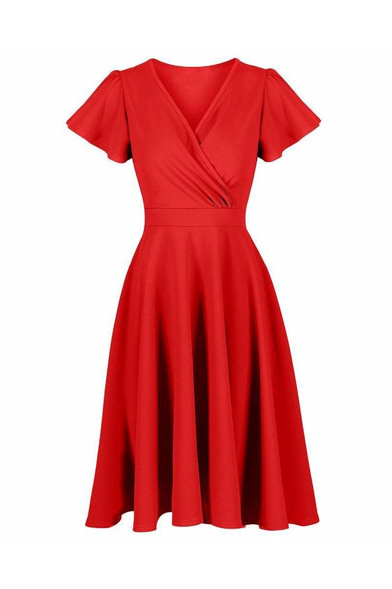 06a3ccd5f3551 Red Gathered Cap Sleeve Crossover 50s Swing Dress in 2019 | New In ...