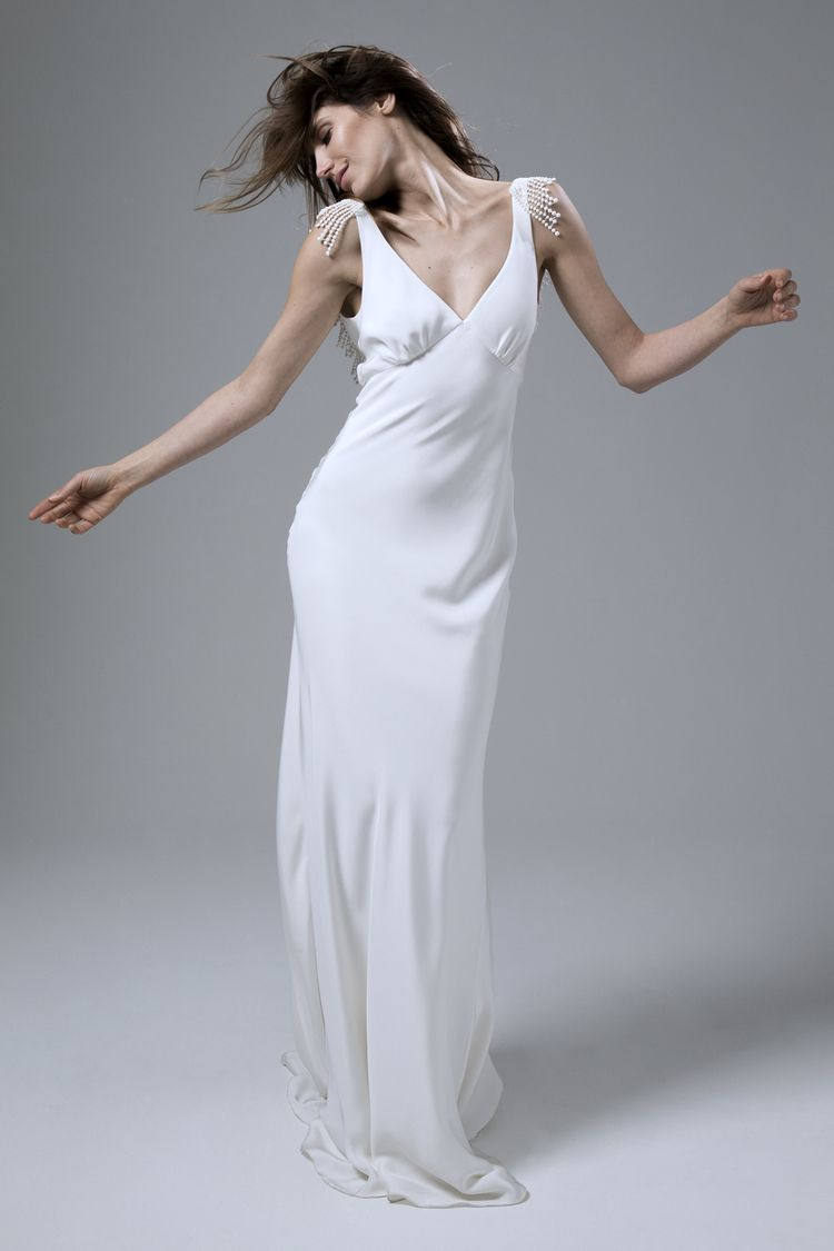 523d083f862c Vera bias cut backless silk crepe dress with french embroidery wedding dress  by Halfpenny London