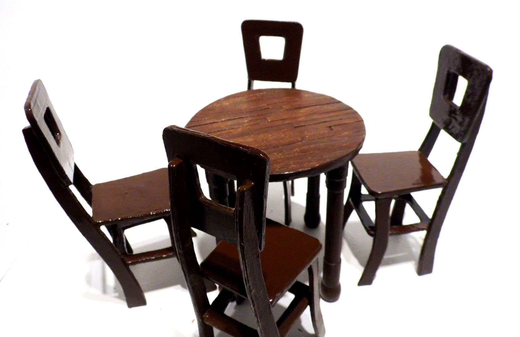 Dollhouse Dining Room Table And Chairs Set Made From Recycled