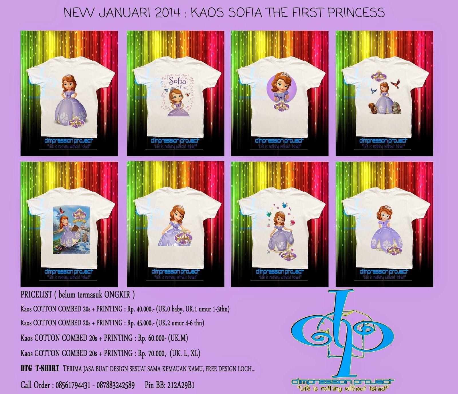 Jual Kaos Anak Sofia The First Princess Project Design Printing