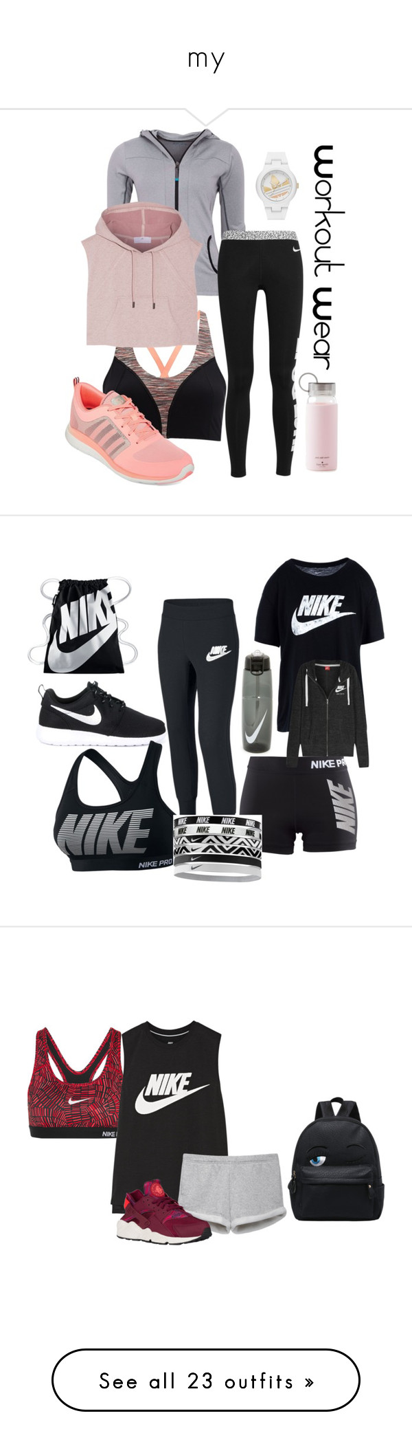 """my"" by stegmillerh ❤ liked on Polyvore featuring activewear, activewear tops, nike, sports, sportswear, workout, sport jerseys, nike activewear, racerback jersey and nike sportswear"