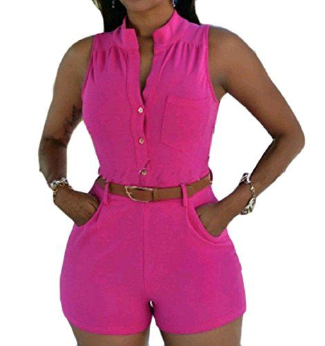 a817e53a4690 Winwinus Womens Pocket Single Button Leisure Sleeveless Belt High Waist  Shorts Romper Playsuit