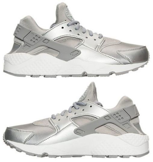 NIKE AIR HUARACHE RUN SE WOMENs RUNNING METALLIC SILVER - SUMMIT WHITE  AUTHENTIC