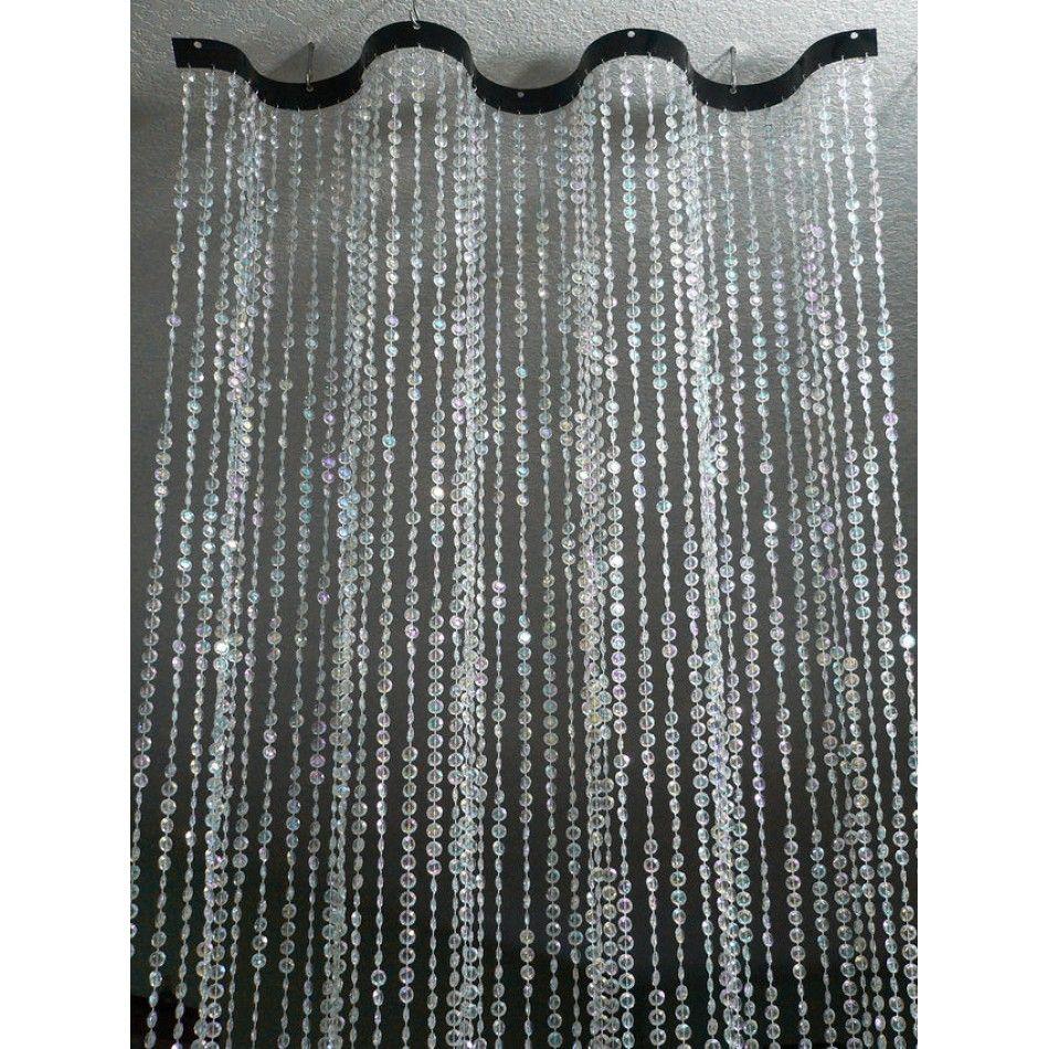 2u0027 X 8u0027 Foot WAVY Beaded Curtain Room Dividers   Diamond Cut Acrylic  Crystal Jewel Beads [CC10 CRY Beaded Room Dividers]