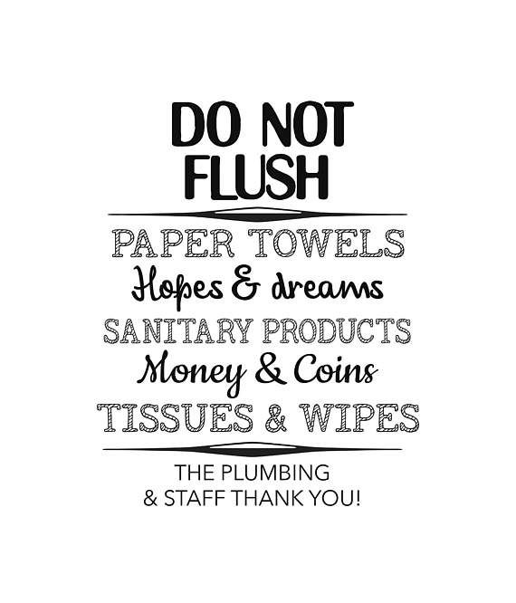 Bathroom Printable Do Not Flush Sign Bathroom Word Art