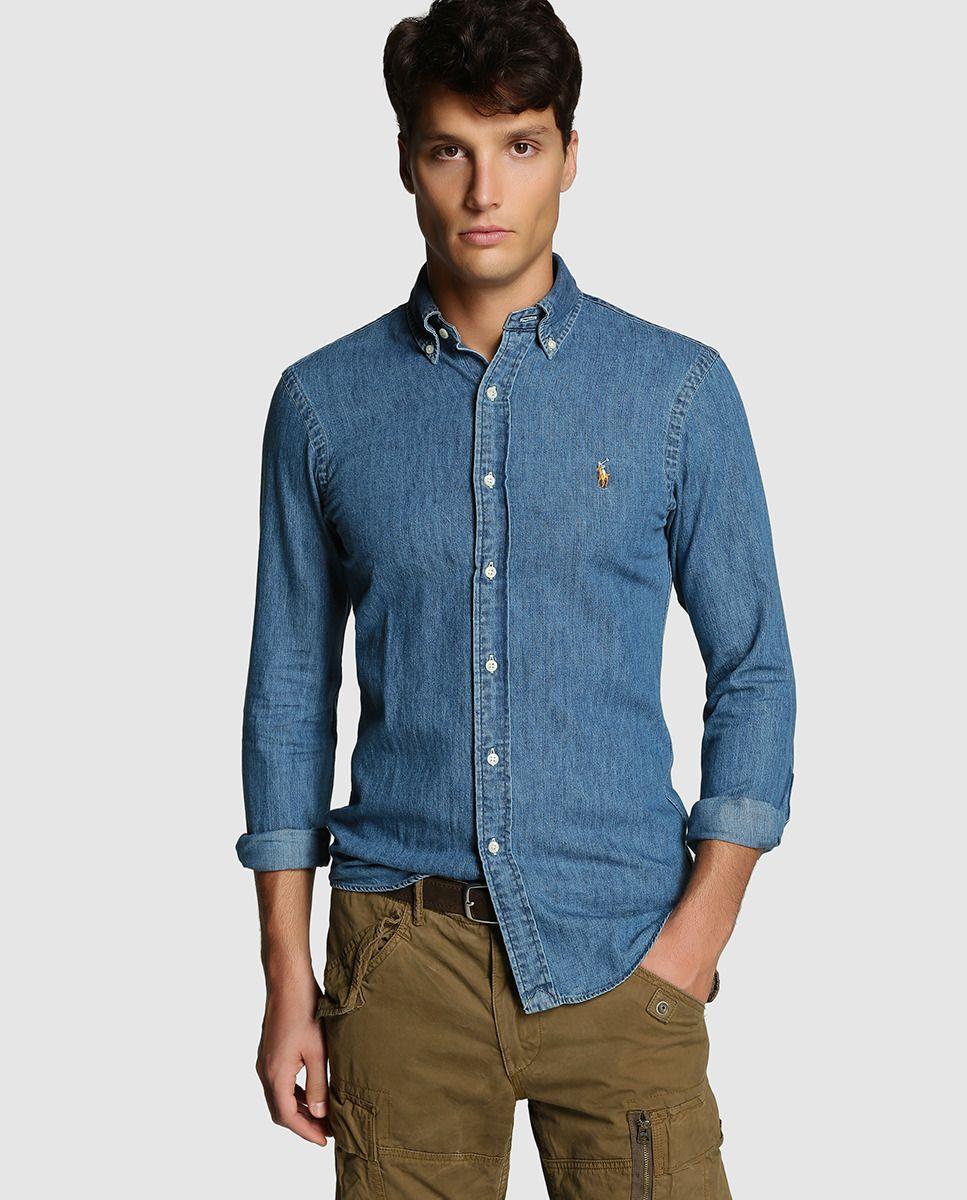 4a6479da4c887 Camisa de hombre Polo Ralph Lauren slim vaquera lisa azul · Polo Ralph  Lauren · Moda · El Corte Inglés