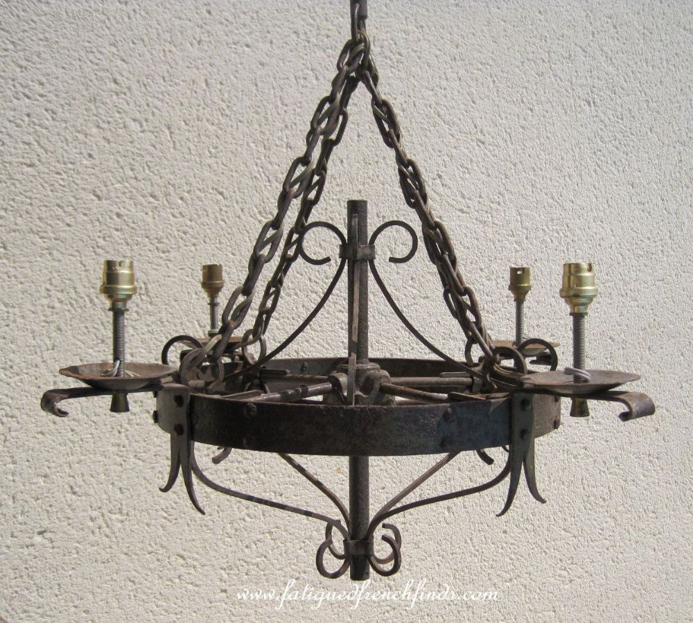 Antique french iron chandelier medieval gothic style very heavy antique french iron chandelier medieval gothic style very heavy handmade hand riveted fatiguedfrenchfinds arubaitofo Gallery