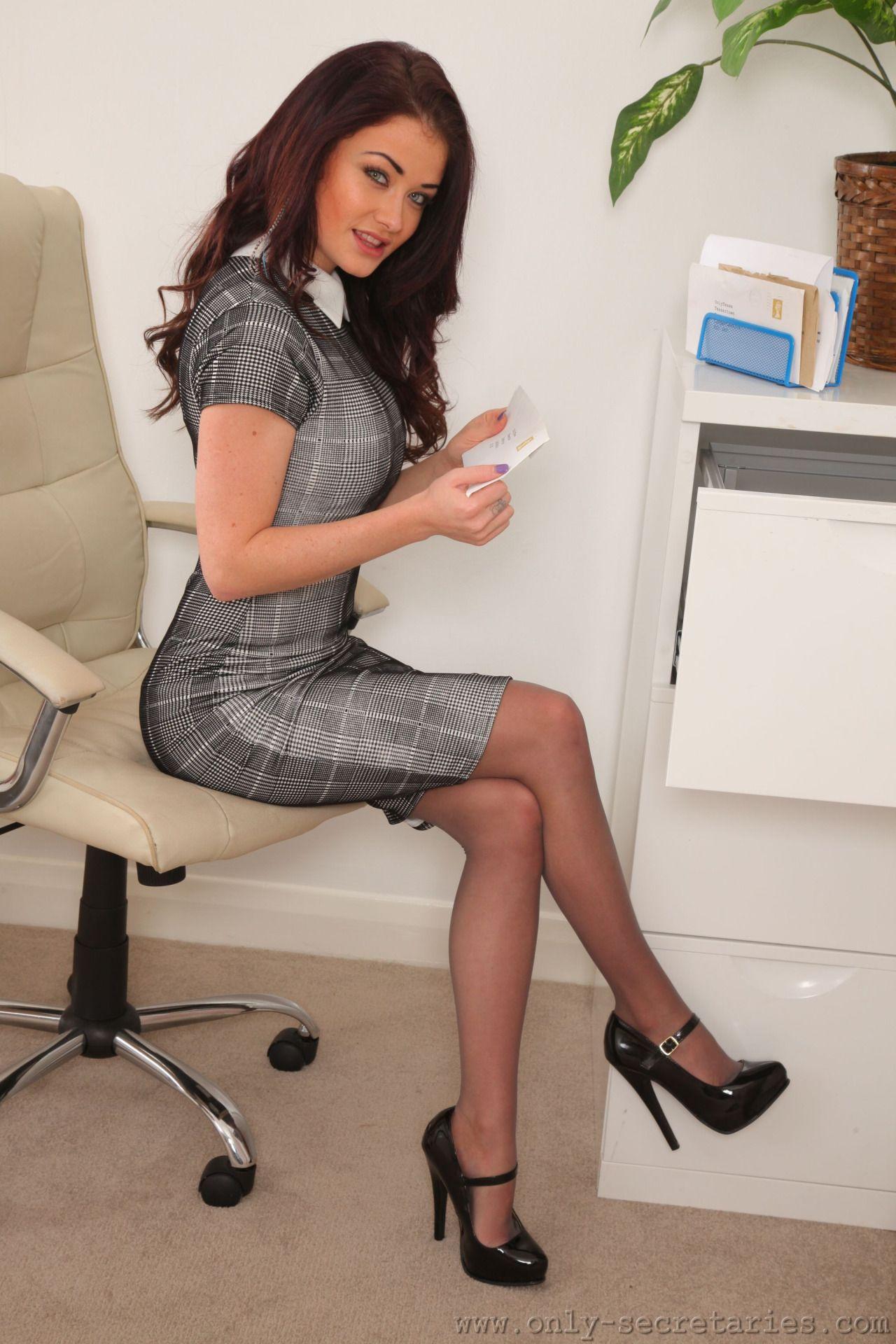 sexy secretary with long legs high heels upskirt fuck