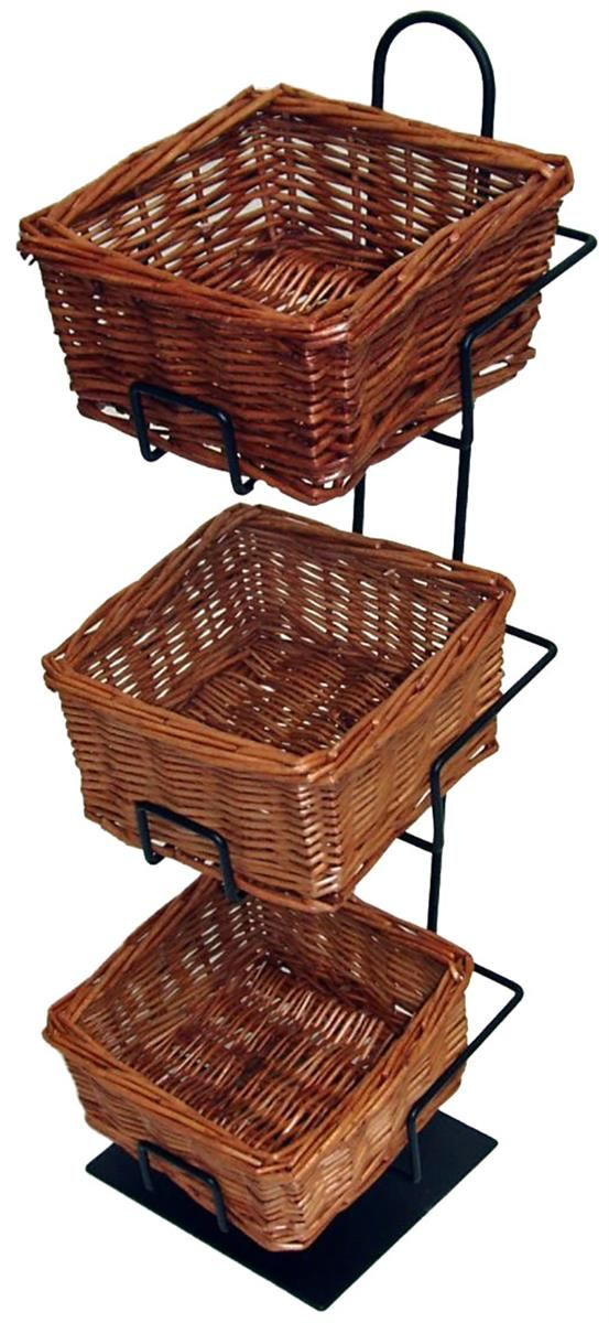 3 Tier Basket Stand Countertop Use Wicker Black Tiered