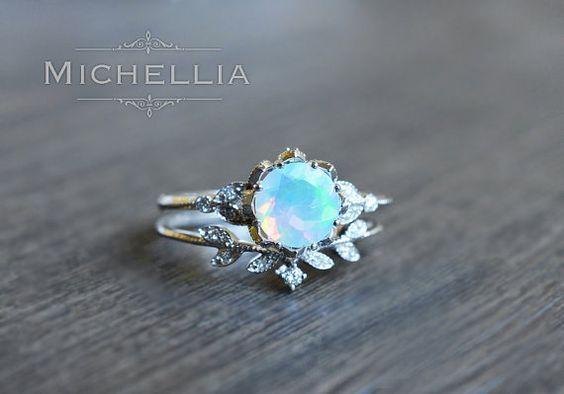 Photo of Evanthe Opal Engagement Ring, Vintage Floral Opal Ring, Opal Floral Engagement Ring, Rose Gold Opal Leaf Ring, 14K Gold, 18K Gold, Platinum
