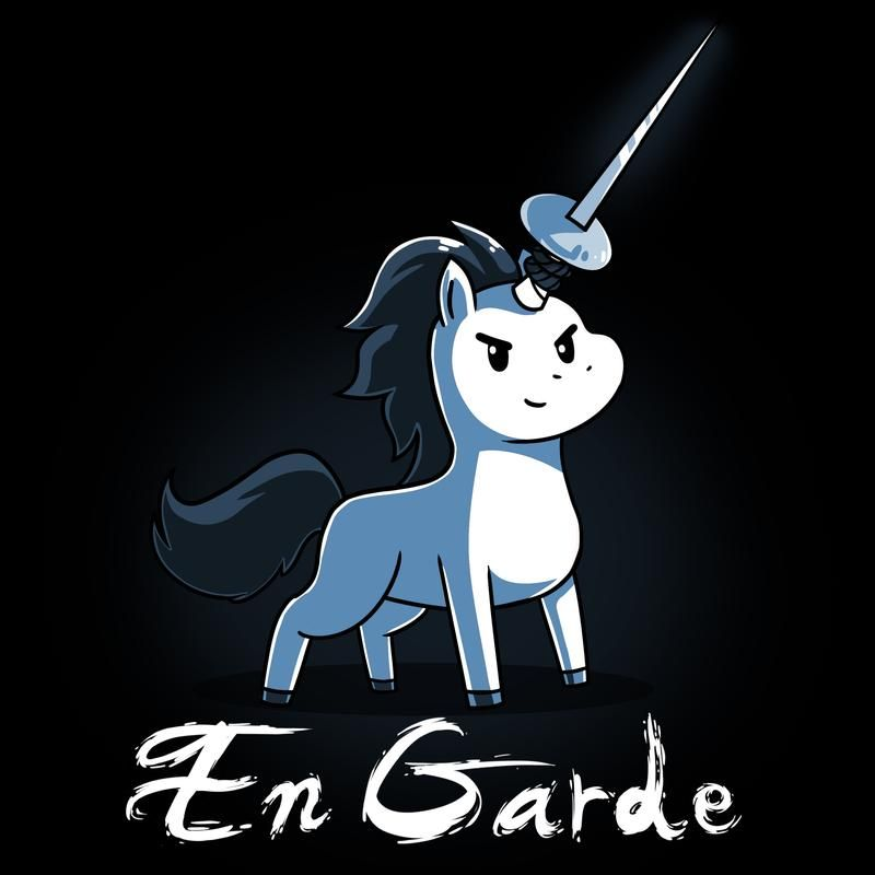 250dd62b En Garde T-Shirt TeeTurtle black t-shirt with a white unicorn that has a  sword attached to its horn with shirt text