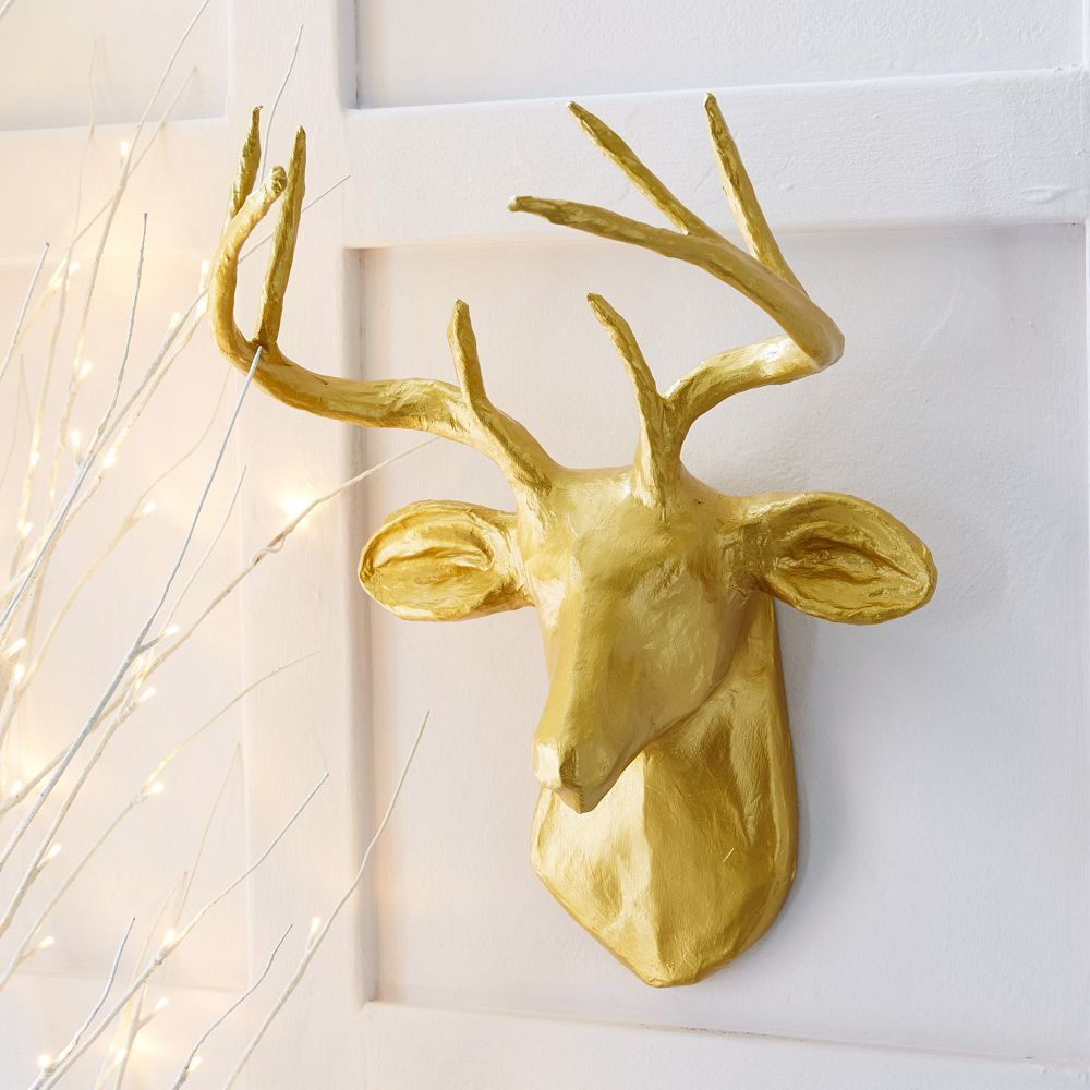 West Elm Papier Mache Animal Sculpture - Golden Deer | Dream Home ...