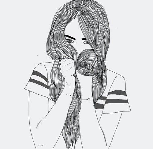 Black Drawing Girl Hair Outline Tumblr White Transparents