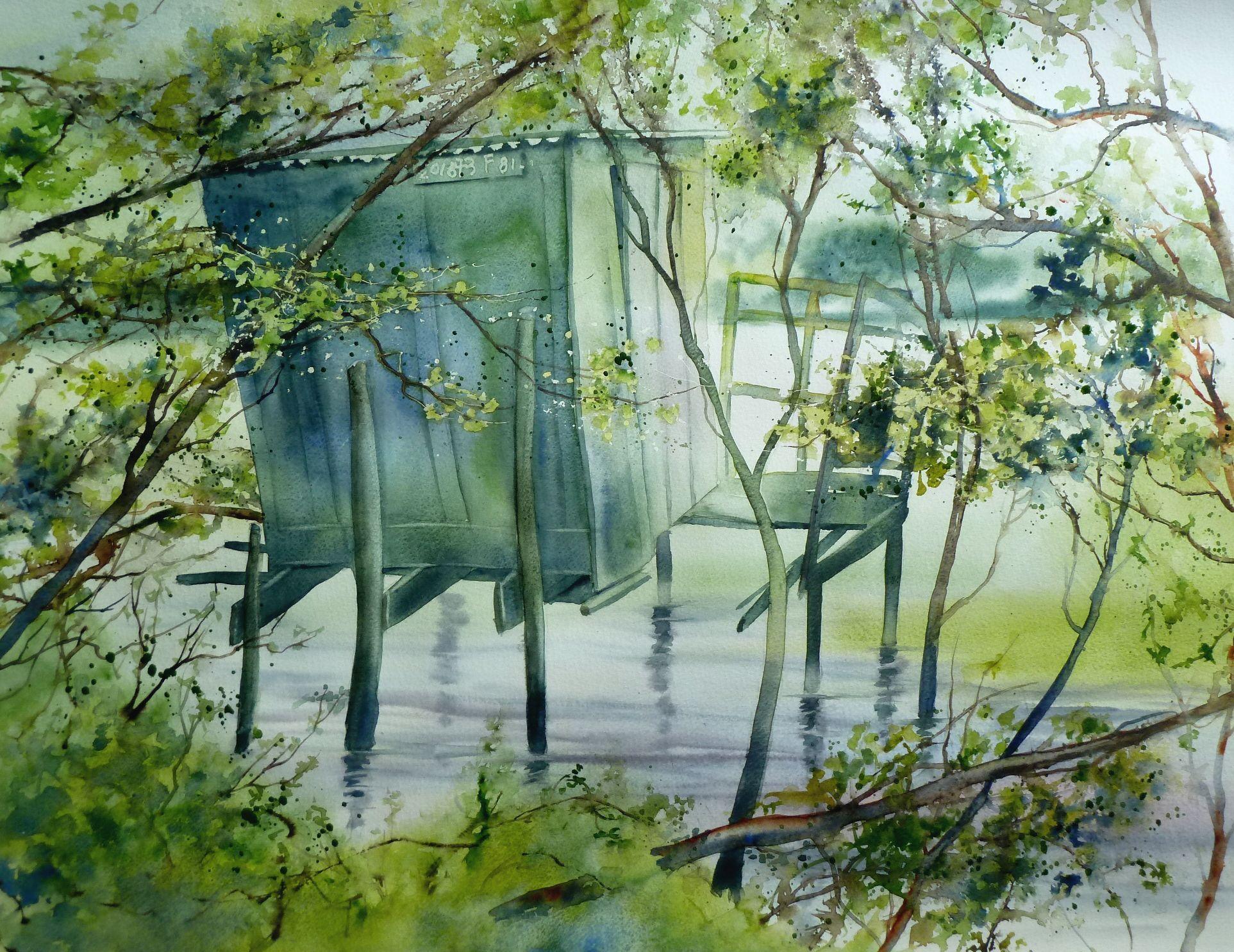 La Tonne De Chasse Au Lac De Leon Aquarelle Anne Larose Art