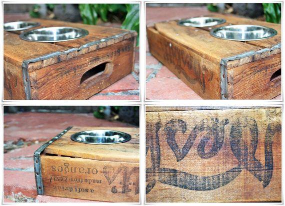 Vintage crate dog bowls