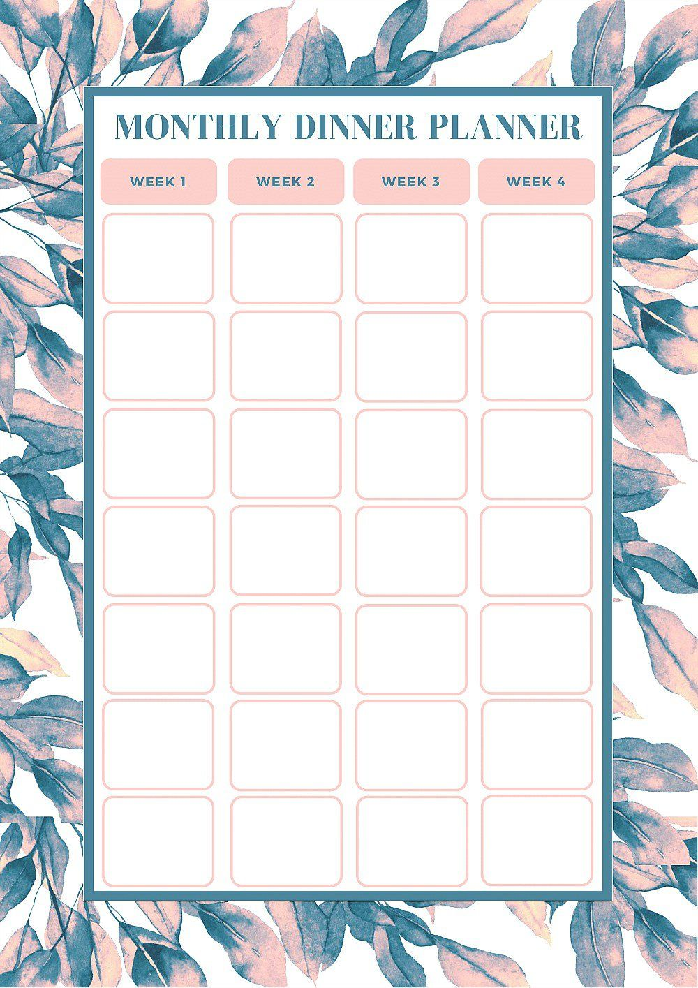 FREE Monthly Meal Planning Template Monthly meal
