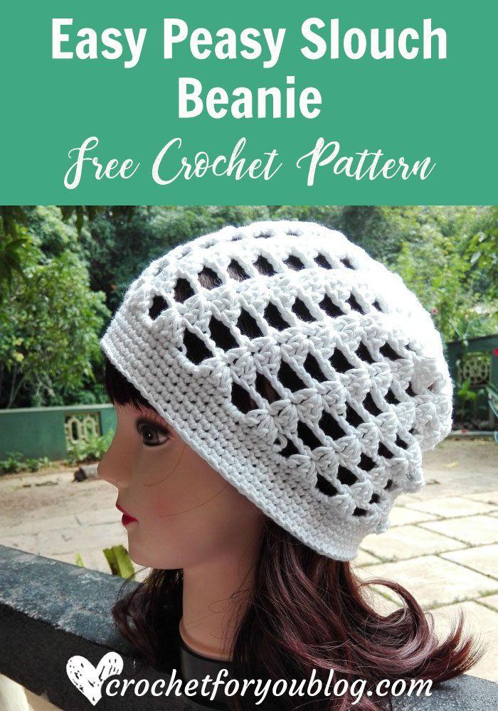 Easy Peasy Slouch Beanie Free Crochet Pattern | Crochet Ideas ...