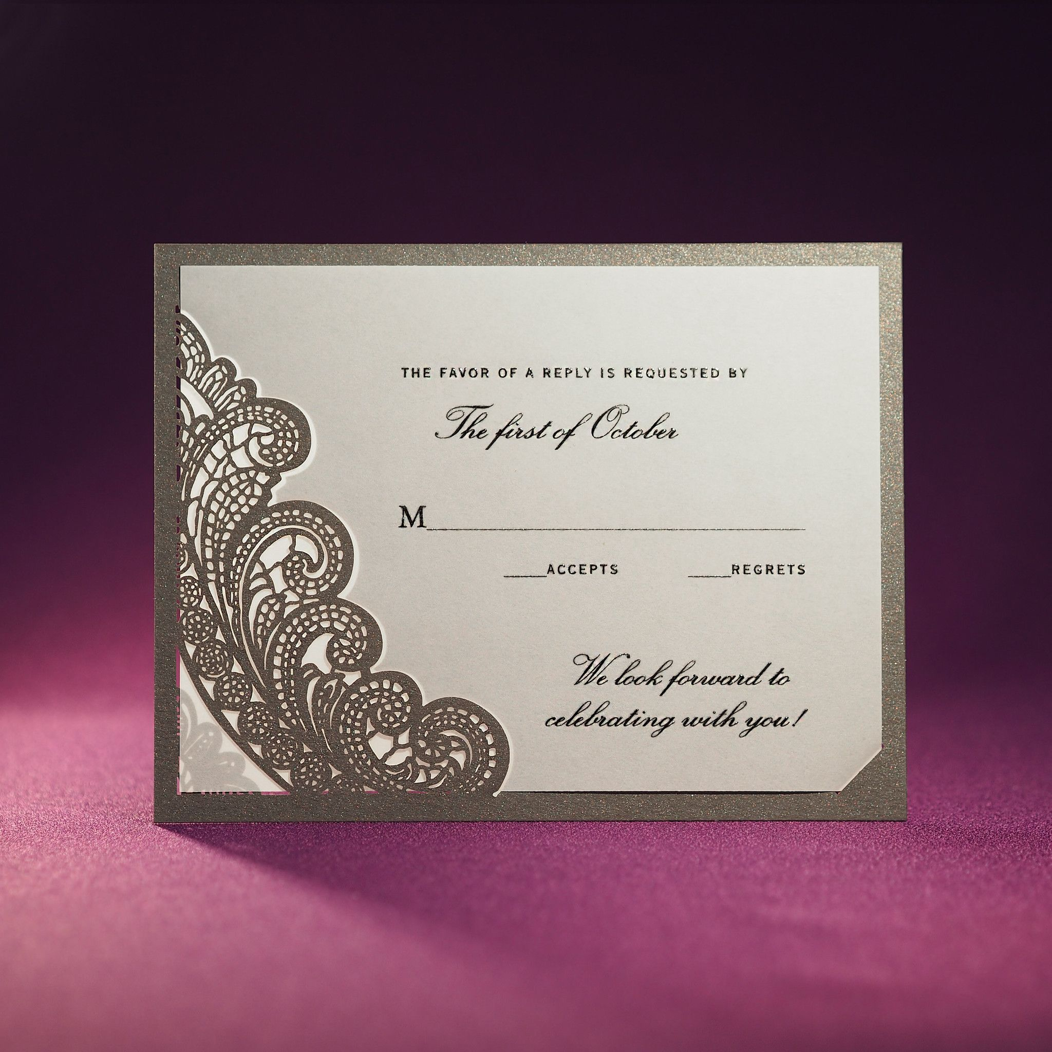 Chantilly Lace Rsvp Card A2 Offset Printed From Paper Orchid