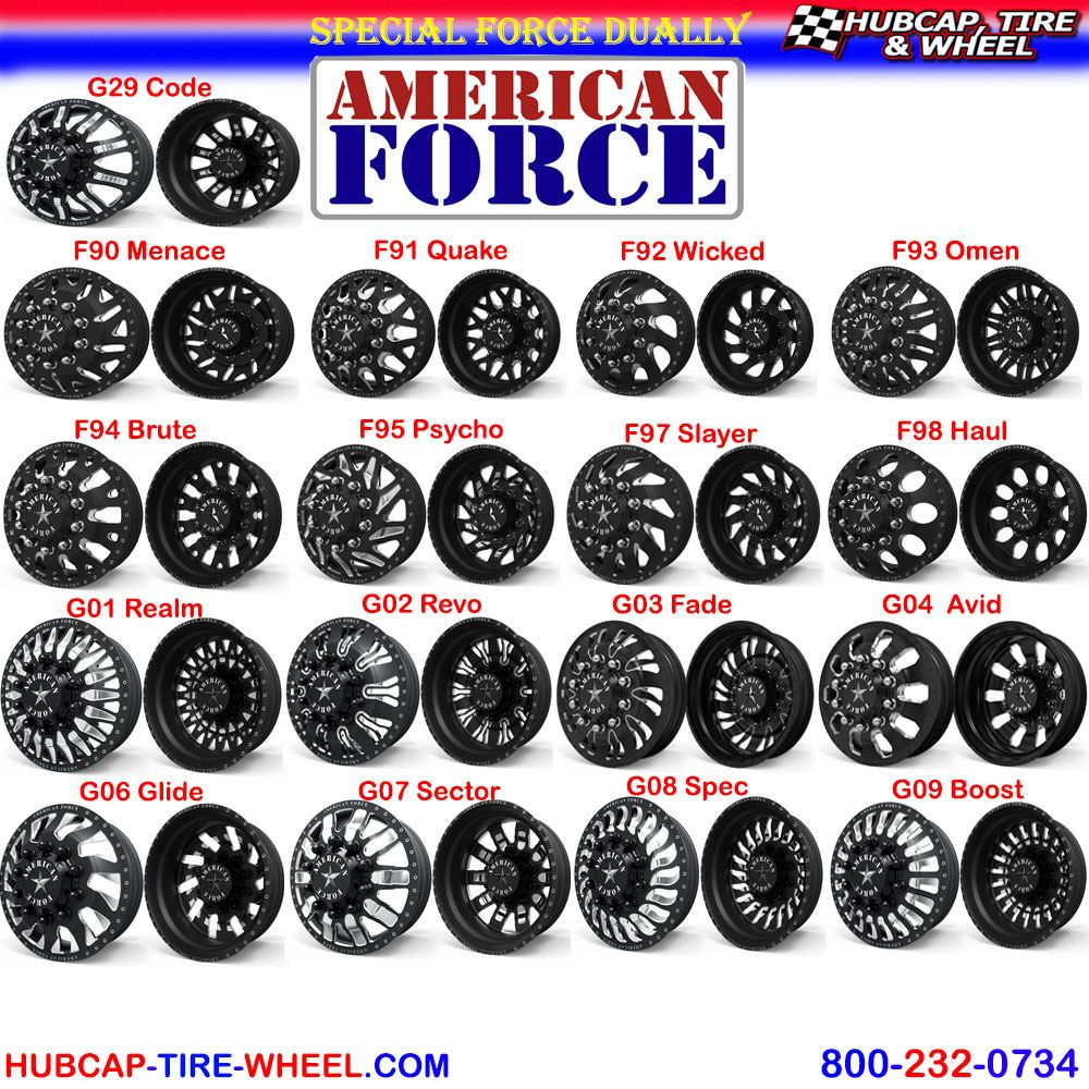 a63e6397483 Latest additions to the American Force Special Force Dually Line! F90  Menace. F91 Quake. F92 Wicked. F93 Omen. F94 Brute. F95 Psycho. F97 Slayer.  F98 Haul.