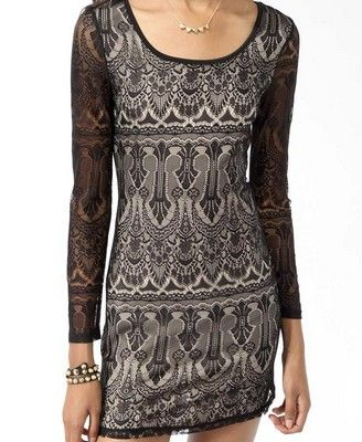 Long Sleeve Lace Dress | FOREVER21 $22