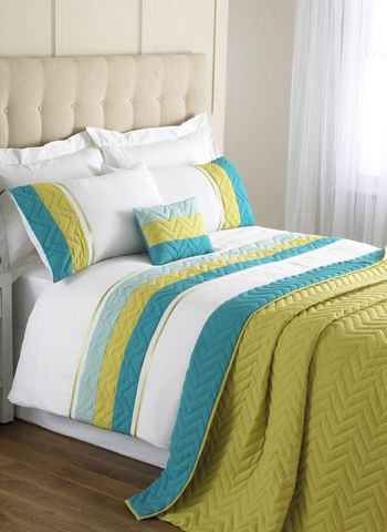 Teal Lime Green White Striped, Turquoise And Lime Green Bedding
