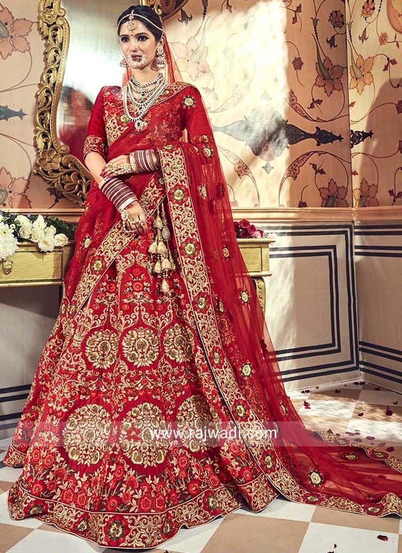 6b5b3b3cfd Red Raw Silk Embroidered Bridal Lehenga. #rajwadi #lehengacholi  #weddingseason #weddingdress #embroidery #lehenga #ethnicwear #bridalwear  #designerwear # ...
