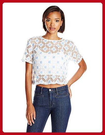 806d3ab312ab68 Glamorous Women's Short Sleeve Top, White/Blue Lace, Large - All about  women (*Amazon Partner-Link)